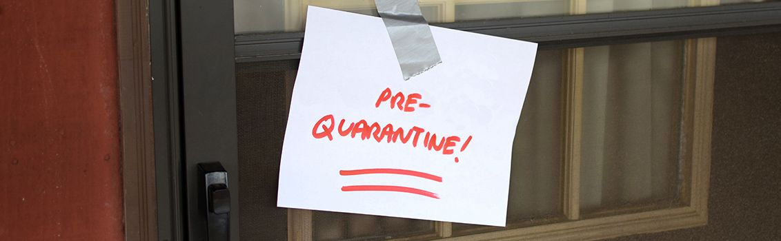 Post-it with the text 'pre-quarantine!'